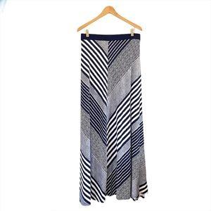 Lane Bryant Navy & White Striped Maxi Skirt NWT